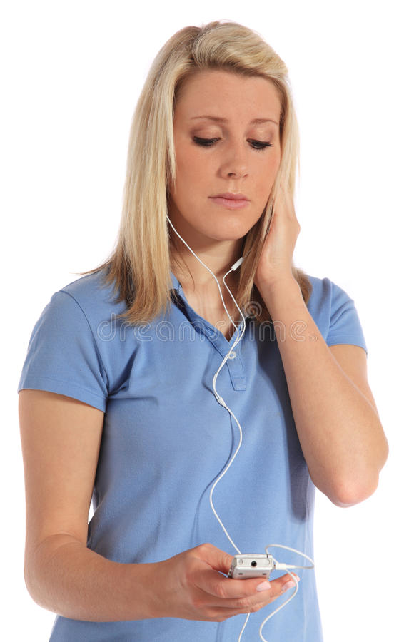 Woman listening to loud music royalty free stock image