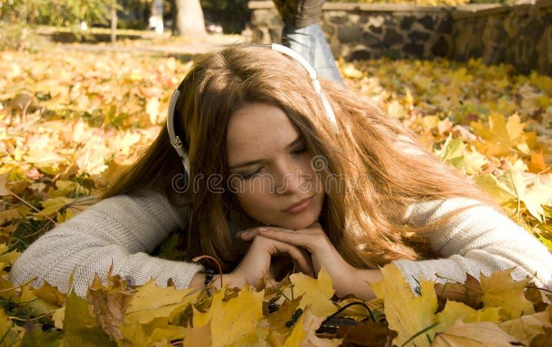 Download Woman listening to music stock image. Image of season - 27755049