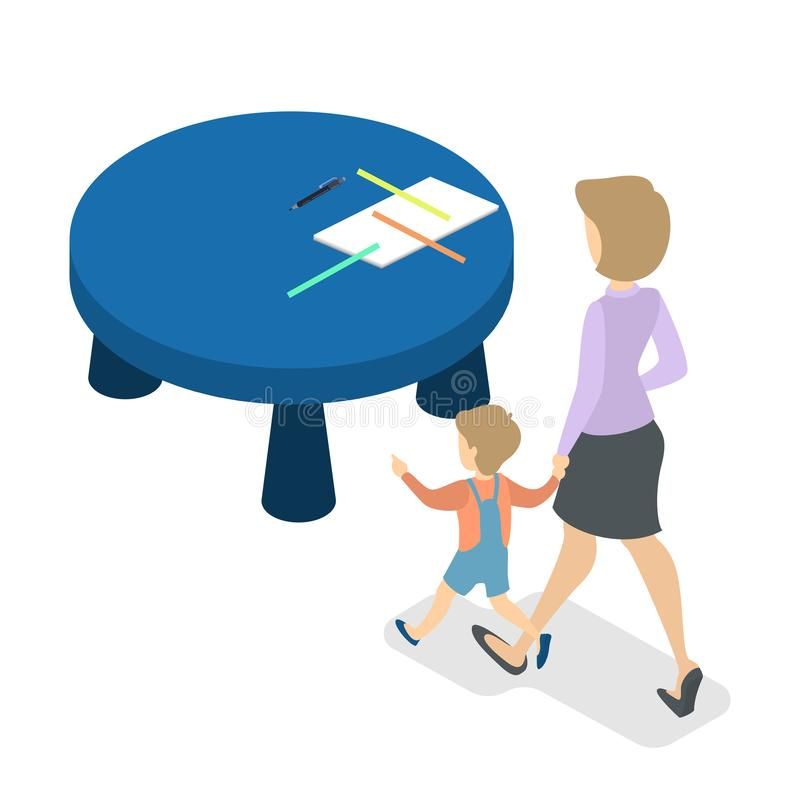Woman with little boy going to the desk royalty free illustration