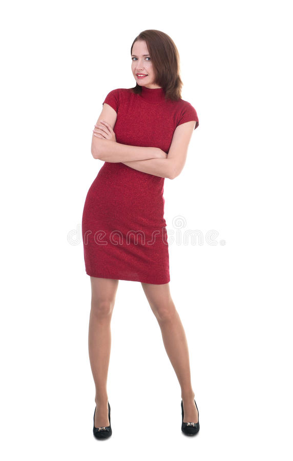 Woman in a little red dress on white background stock photos