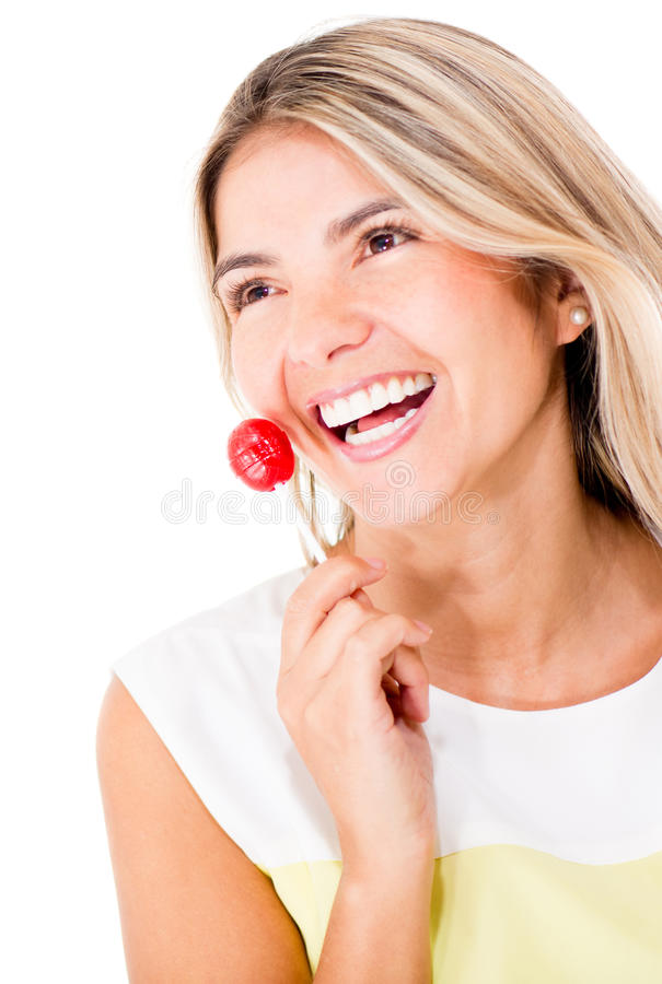 Download Woman with a lollipop stock image. Image of pensive, happy - 25593177