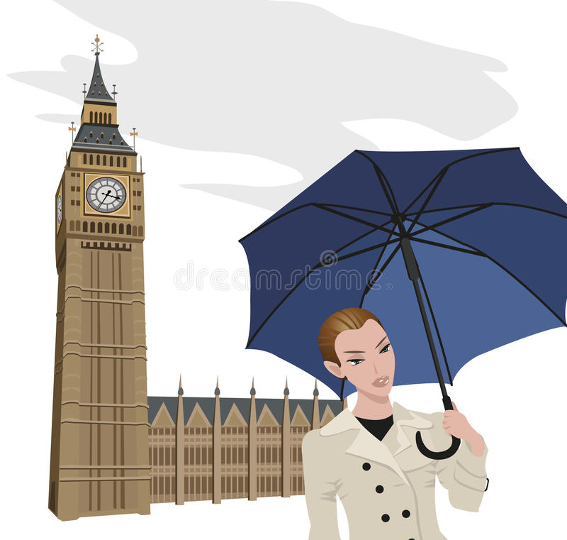 Woman in London. Illustration of Big Ben tower and a woman with an umbrella stock illustration