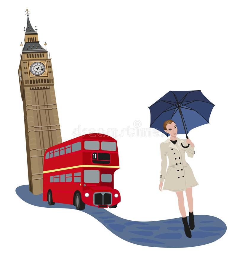 Woman in London. Illustration of Big Ben tower, London bus and a woman with an umbrella vector illustration