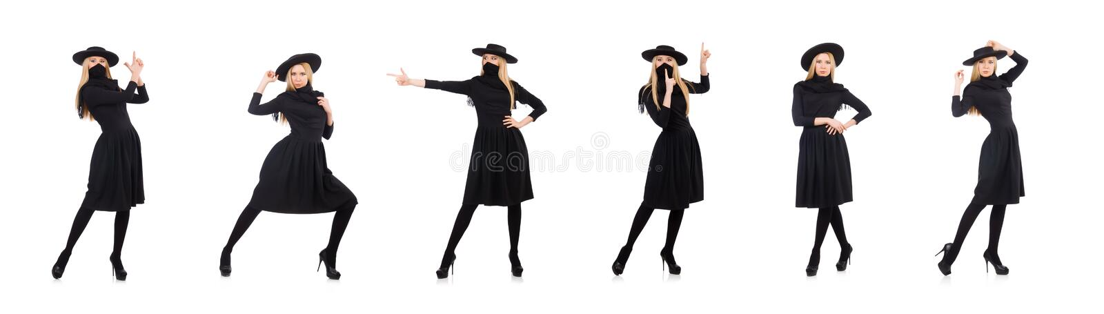 Woman in long black dress isolated on white royalty free stock photography