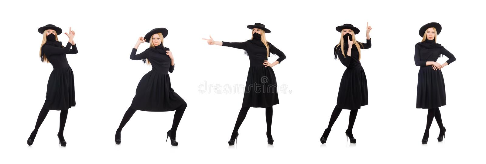 Woman in long black dress isolated on white stock photos