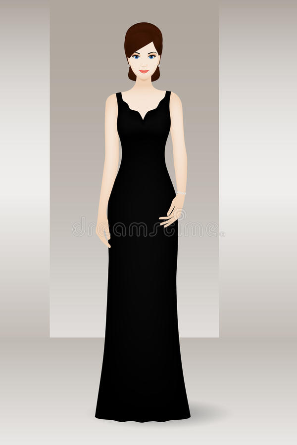 Woman in long black evening dress royalty free illustration