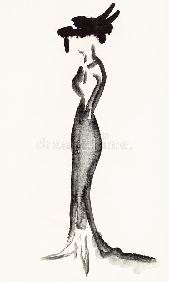 Woman in a long black evening dress royalty free illustration