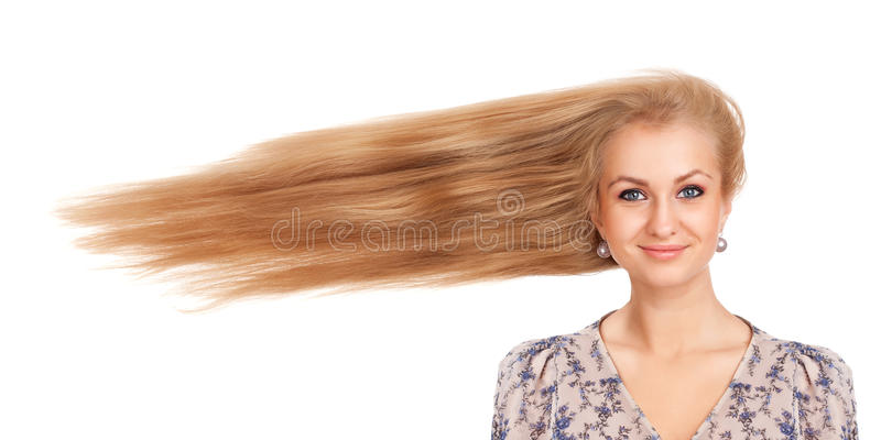 Download Woman With Long Blowing Hair Stock Photos - Image: 28647213