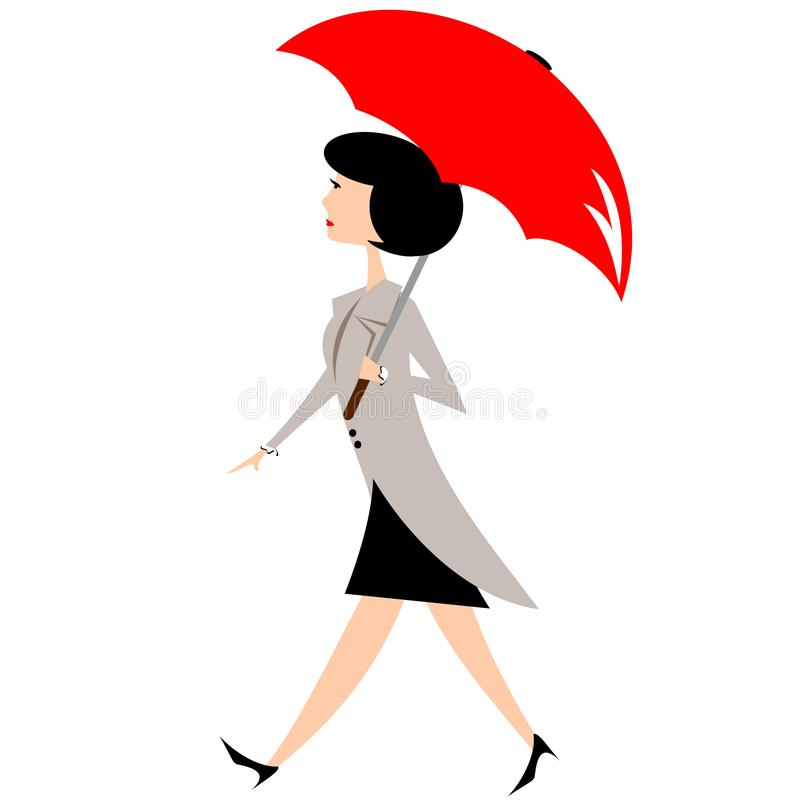 Woman With Open Umbrella stock image