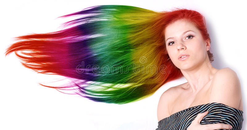 Woman with long color hair stock photos