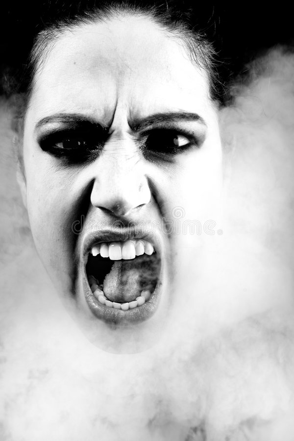 Download Woman With Long Curly Hair Screaming Stock Image - Image: 5337193