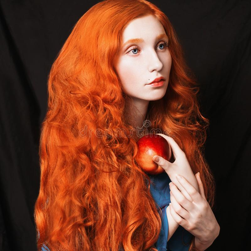 Beautiful attractive girl with red hair stock photos