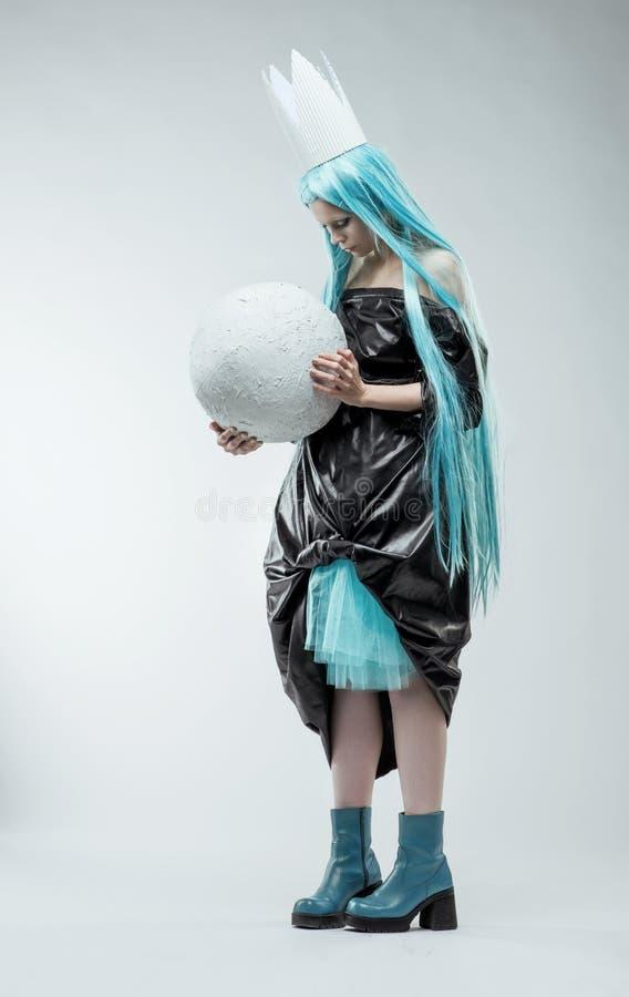 Woman with long cyan hair royalty free stock photos