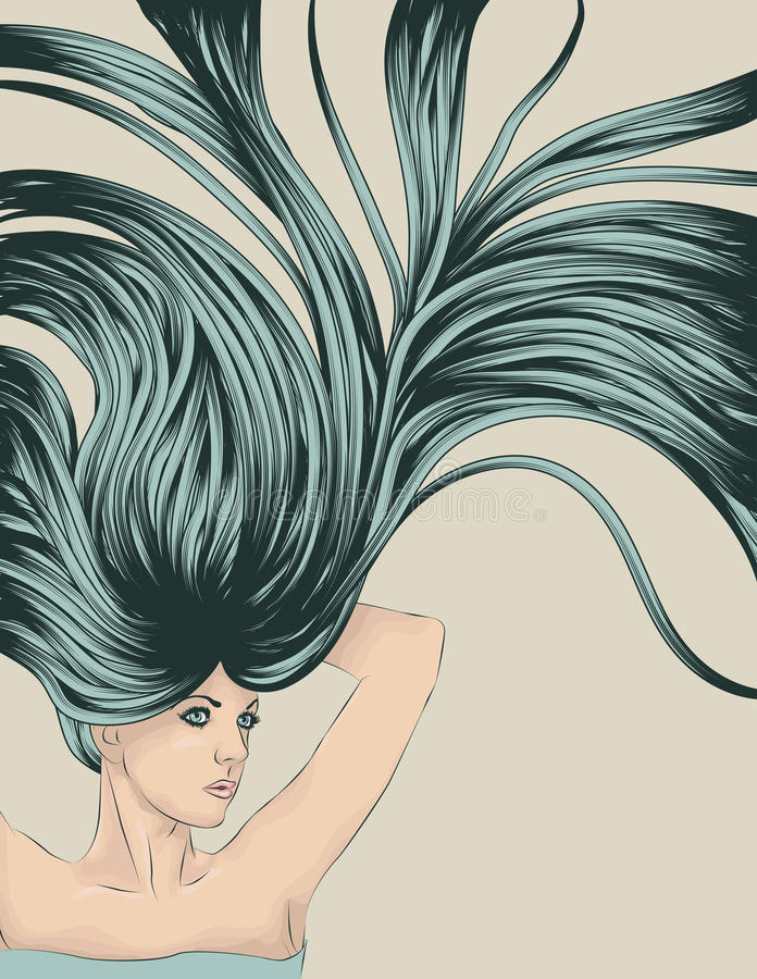 Download Woman With Long Detailed Flowing Hair Stock Vector - Image: 18273445