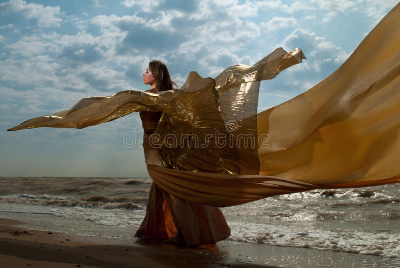 Woman in long dress stock photos
