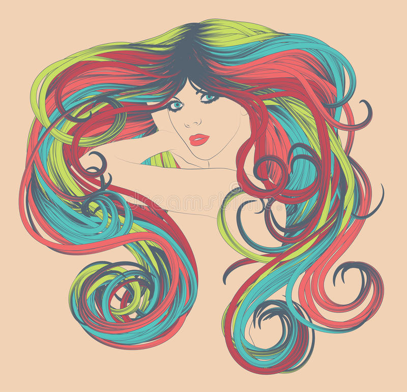 Download Woman With Long Funky Colorful Hair Stock Vector - Illustration of dancing, head: 21866312