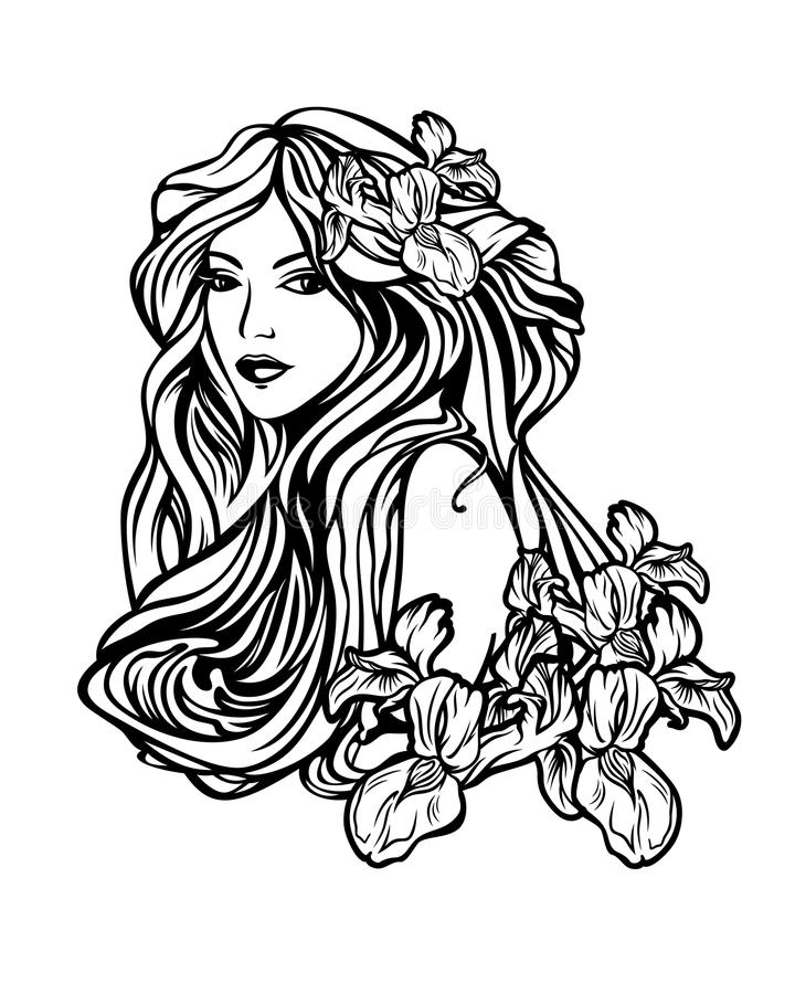 Woman with long hair among flowers art nouveau style vector port. Beautiful woman with long hair among iris flowers - art nouveau style vector illustration royalty free illustration