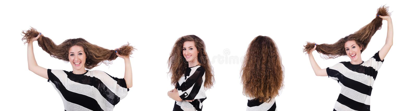 Woman with long hair haircut royalty free stock photography