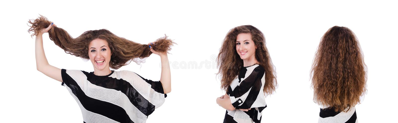 Woman with long hair haircut stock photography