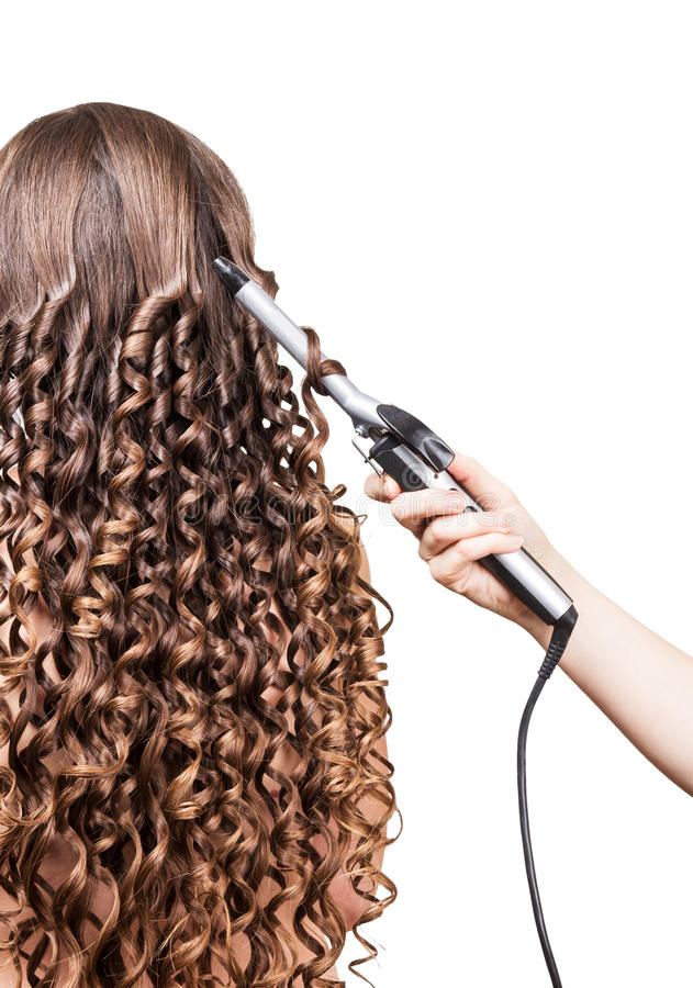 Woman With Long Hair, Hand Barber Curling Irons On White. Stock ...