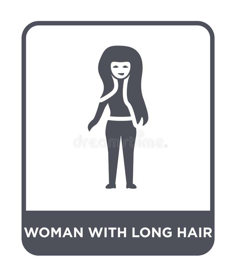 Woman with long hair icon in trendy design style. woman with long hair icon isolated on white background. woman with long hair. Vector icon simple and modern vector illustration