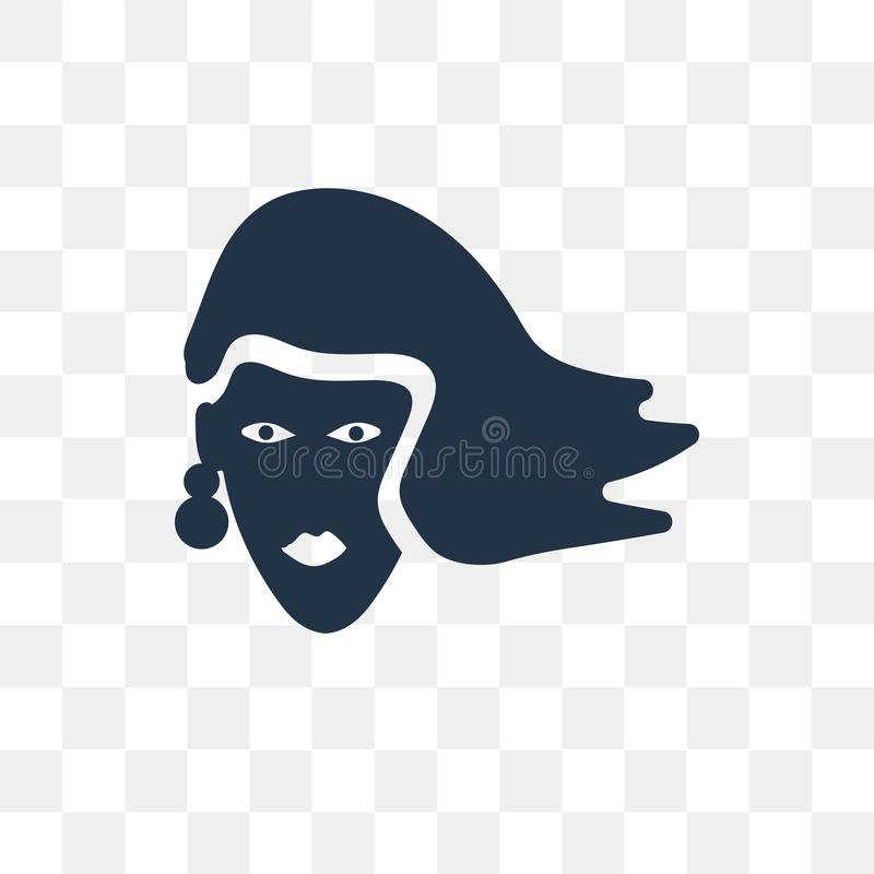 Woman with Long Hair vector icon isolated on transparent background, Woman with Long Hair transparency concept can be used web. And mobile royalty free illustration