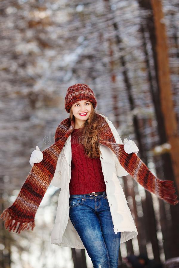 Woman with long hair and wearing warm clothes stock photos
