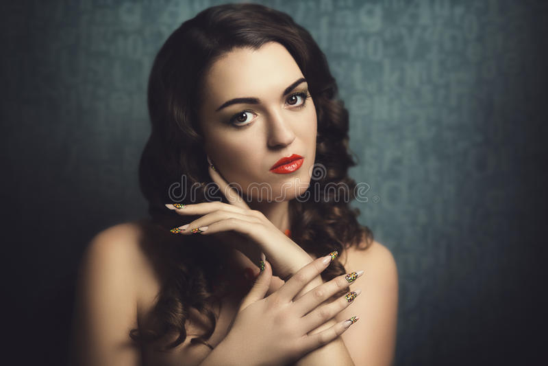 Woman with long nails stock image. Image of matrix, black - 55959213