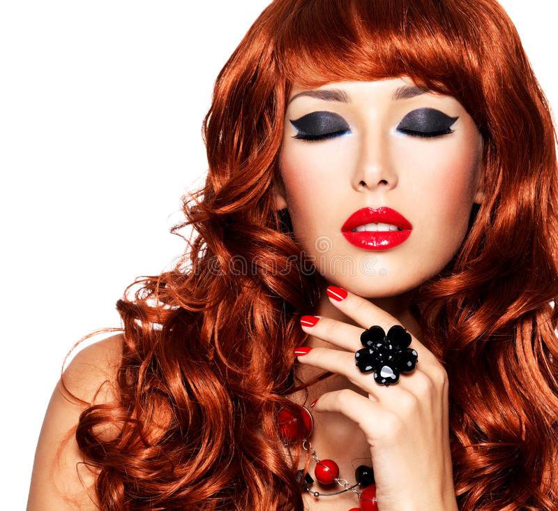 Woman With Long Red Hairs And Red Nails With Ring On Finger Stock ...