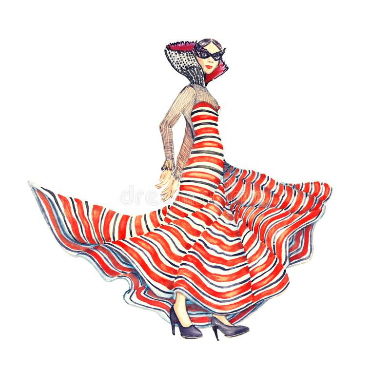 Woman in long striped dress dancing in black mask, hand painted watercolor illustration royalty free illustration