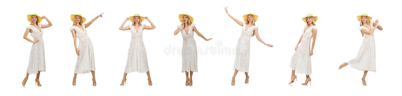 Woman in long summer dress and hat isolated on white royalty free stock images