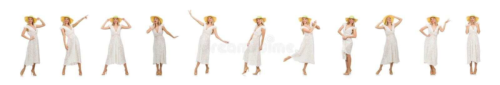 Woman in long summer dress and hat isolated on white stock photo