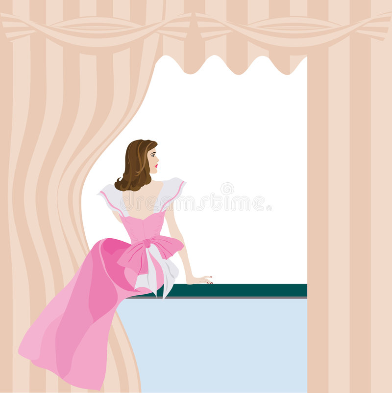 Woman_looking illustration de vecteur