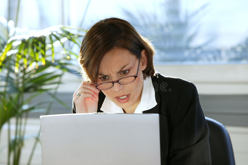 Download Woman Looking Angry With Her Computer Stock Image - Image: 8863977