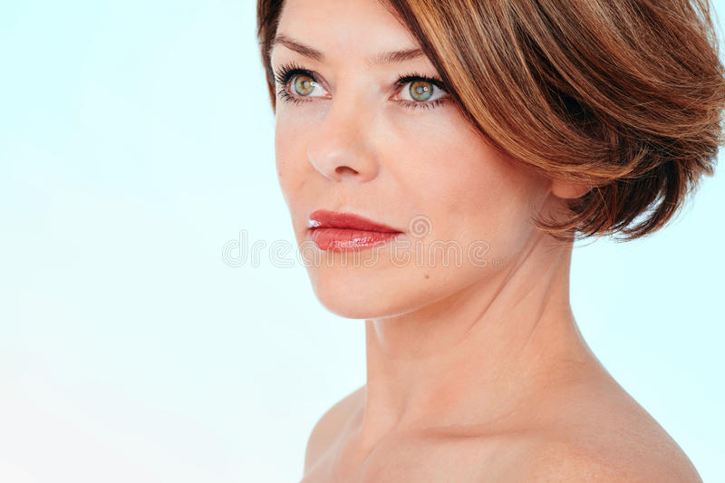 Woman looking aside royalty free stock photography