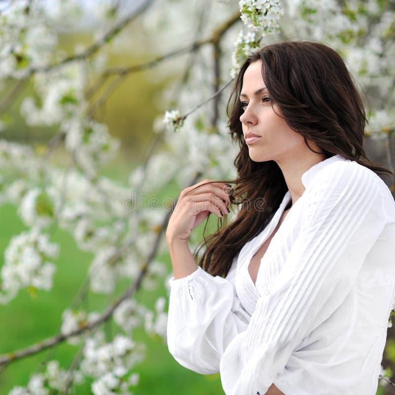 Woman looking away. Beautiful girl profile stock photos