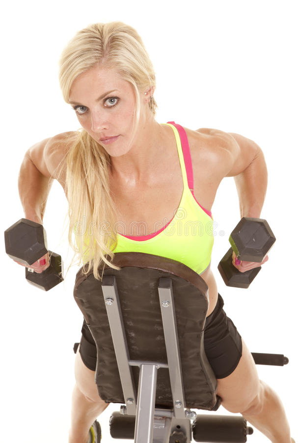 Download Woman Looking On Bench Weights Stock Images - Image: 27455854