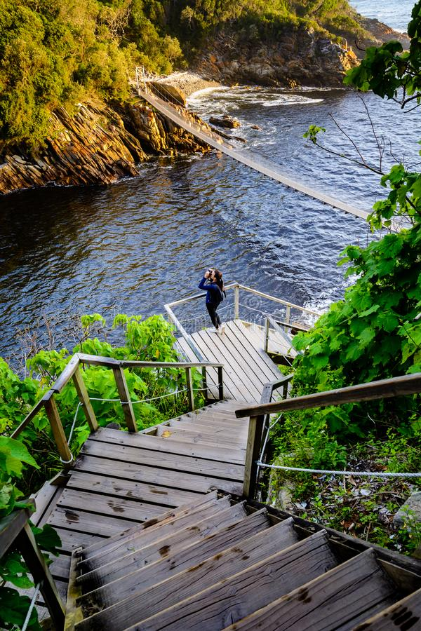 Suspension bridge in Storms River Mouth national park stock photo