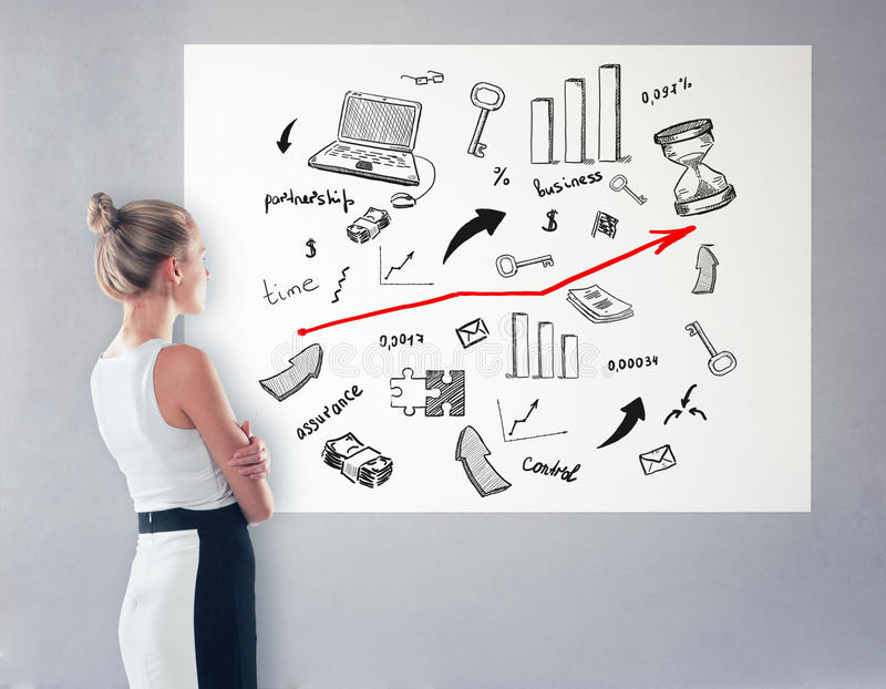 Woman looking at business sketch. Side view of thoughtful elegant businesswoman looking at poster with business sketch. Research concept stock photography