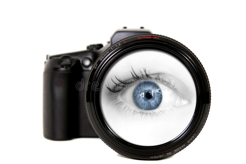 Download Woman Looking Through A Camera Lens Stock Photo - Image: 6241192