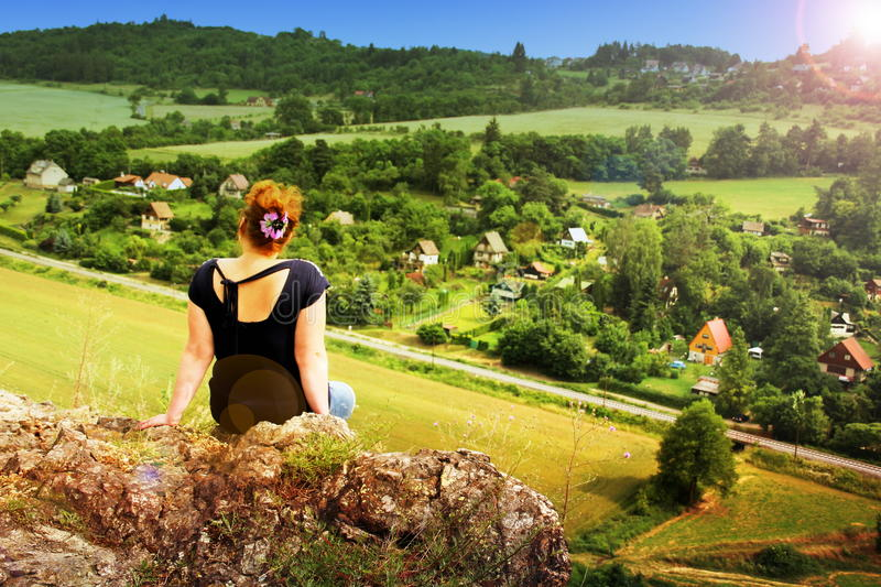 Woman looking at Czech Countryside stock images