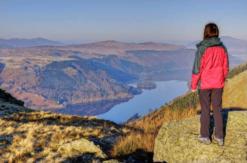 Download Woman Looking Down On Thirlmere Stock Image - Image: 8201893