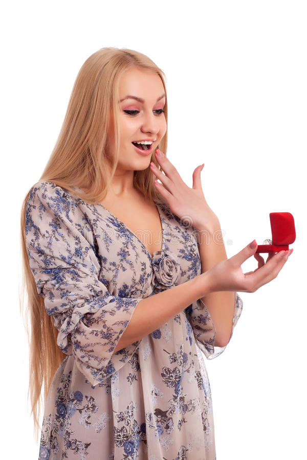 Download Woman Looking At Engagement Ring In A Box Stock Photography - Image: 28740662
