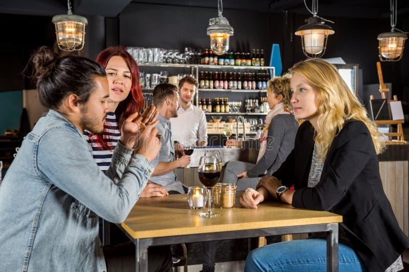 Woman Looking At Friends Conversing In Bar. Young women looking at friends conversing in bar royalty free stock photos