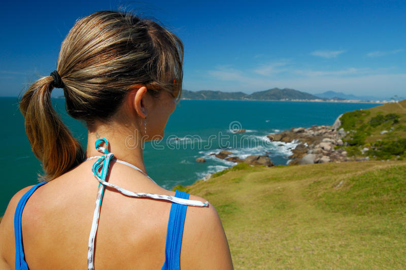 Woman looking landscape stock photos