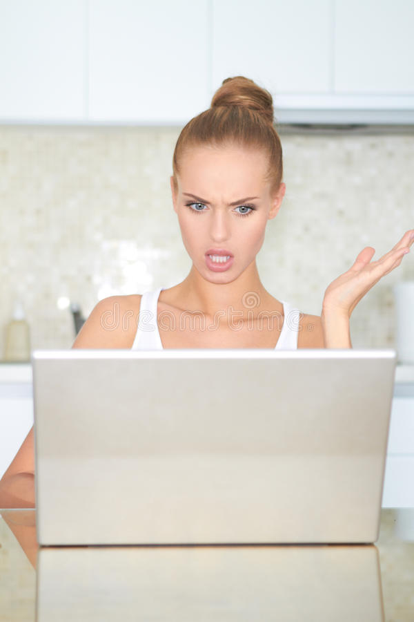 Download Woman Looking At Laptop In Horror Stock Image - Image: 24347005