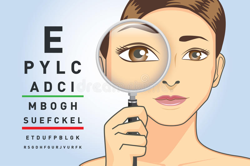 Woman looking letters on the chart with magnifying glass vector illustration