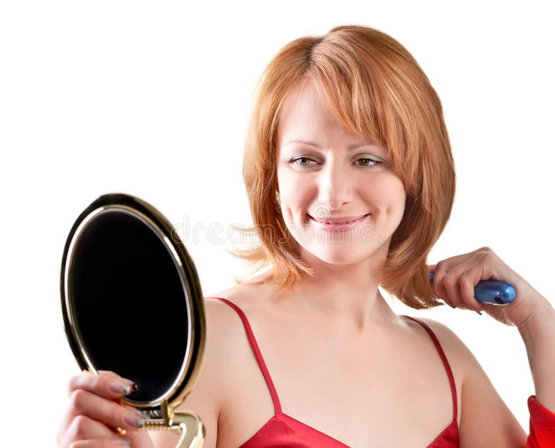 Download Woman Looking Into A Mirror Stock Photo - Image: 25844548