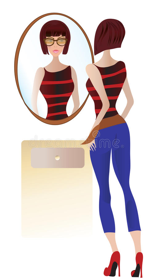 Woman Looking at the Mirror vector illustration
