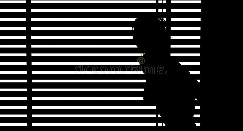 Woman looking out blinds. In sunlight stock illustration